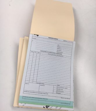 A4 Triplicate NCR book in 50's. Printed black one side with soft manilla cover from head and writing plate from foot. Numbered and Perforated.