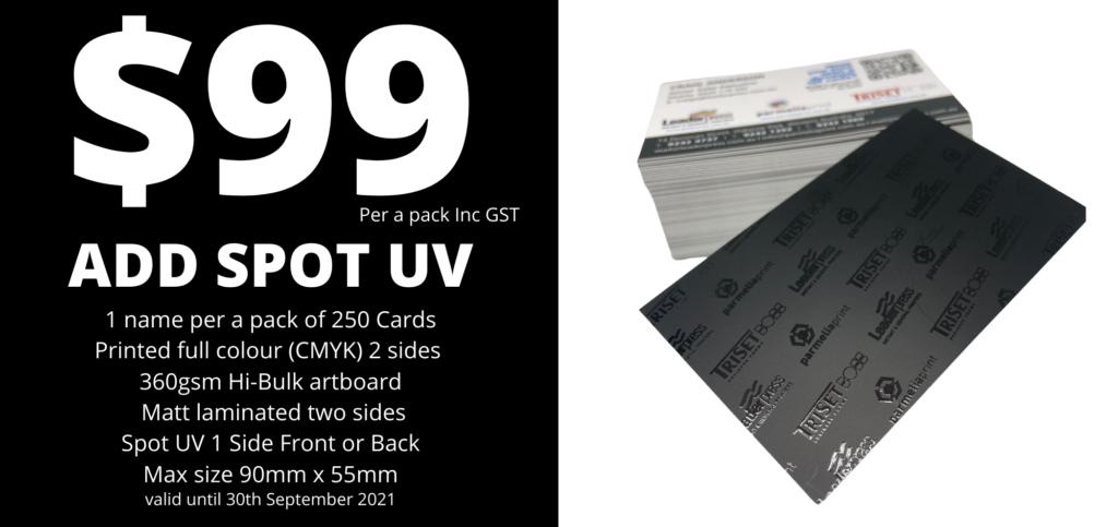 $99 Spot UV business cards September Special 2021